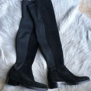 New Tory Burch Suede Over the Knee Boots Black 5